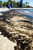 Texture de flaque de pétrole brut sur la plage de sable de l'accident de flaque d'huile, baie d'Agios Kosmas, Athènes, Grèce, le  photo stock