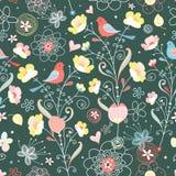 Texture de fleur avec des oiseaux Photo stock