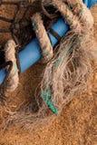 Texture de fond - bac, réseau et corde de homard. Images libres de droits
