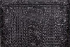 Texture de fond de cuir noir de crocodile Image libre de droits