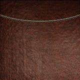 Texture de fond en cuir brun avec la couture piquée, plan rapproché Image stock