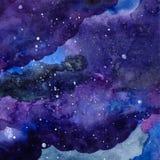 Texture de l'espace d'aquarelle avec les étoiles rougeoyantes Ciel étoilé de nuit avec des courses et des clapotis de peinture Il Images libres de droits