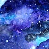 Texture de l'espace d'aquarelle avec les étoiles rougeoyantes Ciel étoilé de nuit avec des courses et des clapotis de peinture Il Photo stock