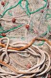 Texture de la pile des filets de pêche avec des flotteurs Images stock