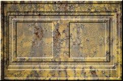 Texture de la surface métallique rouillée approximative jaune avec les parties accentuées grises encombrantes qui peuvent être vu Photos stock