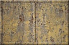 Texture de la surface métallique rouillée approximative jaune avec les parties accentuées grises encombrantes qui peuvent être vu Images libres de droits