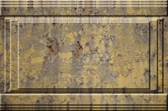 Texture de la surface métallique rouillée approximative jaune avec les parties accentuées grises encombrantes qui peuvent être vu Photo libre de droits