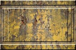 Texture de la surface métallique rouillée approximative jaune avec les parties accentuées grises encombrantes qui peuvent être vu Image stock