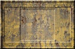 Texture de la surface métallique rouillée approximative jaune avec les parties accentuées grises encombrantes qui peuvent être vu Photo stock