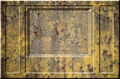 Texture de la surface métallique rouillée approximative jaune avec les parties accentuées grises encombrantes qui peuvent être vu Photographie stock libre de droits