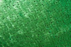 Texture de macro de plan rapproché de paillettes de couleur verte Images libres de droits