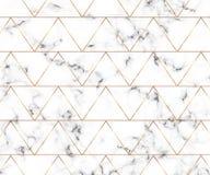 Texture de marbre blanche minimaliste moderne avec les lignes géométriques modèle d'or Fond pour la bannière de conceptions, cart illustration libre de droits