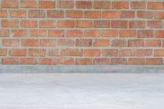 texture de mur de briques de vintage et plancher de ciment Photo libre de droits
