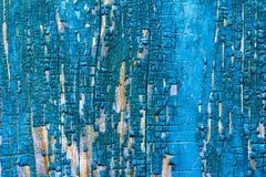 Texture de panneau en bois de grange avec les restes du vieux bleu de peinture photographie stock libre de droits