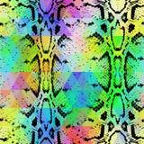 Texture de peau de serpent avec le losange coloré Fond géométrique Fond jaune bleu pourpre de modèle de noir de vert sans couture Photographie stock libre de droits