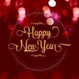Texture de scintillement d'or de bonne année avec la guirlande d'étoile sur le velv rouge Image libre de droits