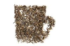 Texture de thé vert dans la tasse de forme Image libre de droits