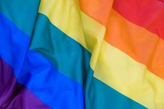 Texture de tissu du fond gai de drapeau Drapeau de ondulation de LGBT Photo libre de droits