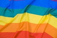 Texture de tissu du fond gai de drapeau Drapeau de ondulation de LGBT Image libre de droits