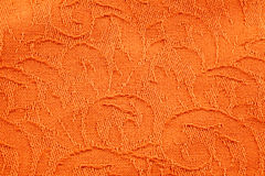 Texture de tissu orange de brocard Photographie stock libre de droits