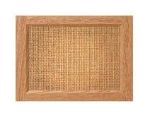 Texture de toile dans le cadre en bois d'isolement sur le blanc Photos stock