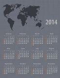Texture 2014 de toile de carte du monde de calendrier Photographie stock libre de droits