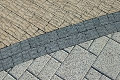 Texture de trois de genres briques de trottoir image stock