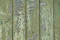 Texture de vieux conseils en bois avec la peinture criquée verte, fond de cru photographie stock libre de droits