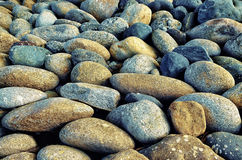 Texture des cailloux en pierre de rivière gris Images stock