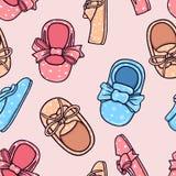 Texture des chaussures des enfants Configuration sans joint Illustration de graphique couleur Fond Image libre de droits