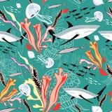 Texture des requins et des méduses illustration de vecteur
