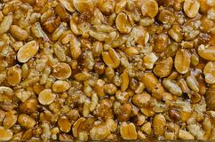 Cereal Bar with Peanut. Texture detail of peanut in cereal bar for eating on relaxing time Royalty Free Stock Photo