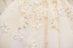 Texture of details bride wedding dress close up Stock Image