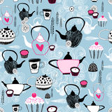 Texture of different utensils for tea stock illustration