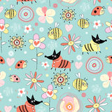 Texture dogs and bees on the flowers. Seamless pattern of colorful flowers bees and dogs on a blue background Stock Images