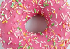 The texture of the donut pink royalty free stock image