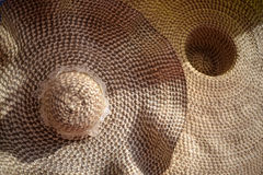 Texture of dried straw hat close up, Brown straw weave hat textu Royalty Free Stock Image