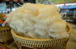 The texture of dried thin rice noodles stock photo