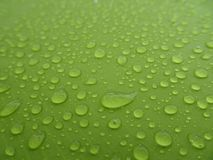 Texture: a drop of water on a green fabric. Water-repellent effect. Waterproof textile stock photo