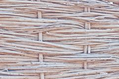 The texture of the dry reeds. Yellow reeds. A fence made of reeds. The roof is covered with reeds. Twigs. Sticks stock photography