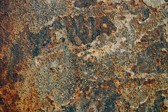 Texture du fer rouillé, peinture criquée sur une vieille surface métallique, feuille de métal rouillé avec la peinture criquée et Photos stock