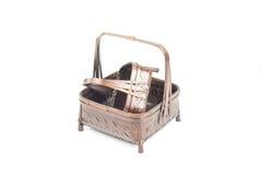 Texture du panier en bambou brun grand et petit Photos libres de droits