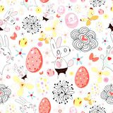 Texture of easter rabbits and eggs Royalty Free Stock Images