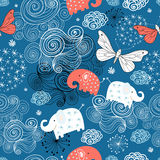 Texture of the elephants and butterflies among the Stock Image