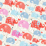 Texture of the elephants in peas. Seamless pattern of colored funny elephant decorative light background vector illustration