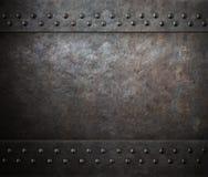 Texture en acier en métal de rouille avec l'illustration des rivets 3d Image stock