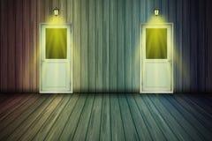 Texture en bois dans multicolore et 2 portes pour le fond Photo stock