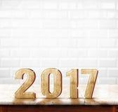 Texture en bois de 2017 ans sur la table de marbre avec le carreau de céramique blanc W Photographie stock libre de droits