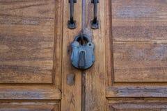 Texture en bois de porte de serrure Photographie stock