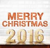 Texture en bois du Joyeux Noël 2016 sur la table de marbre avec le CER blanc Image stock